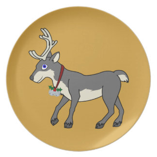 Gray Reindeer with Jingle Bells & Christmas Holly Plate