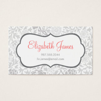 Gray Retro Floral Damask Business Card