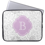 Gray Retro Floral Damask Custom Monogram Computer Sleeve