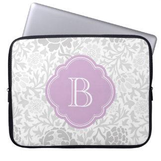 Gray Retro Floral Damask Custom Monogram Laptop Sleeve