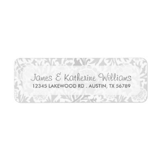 Gray Retro Floral Damask Modern Wedding Label