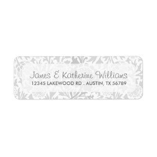 Gray Retro Floral Damask Modern Wedding Label