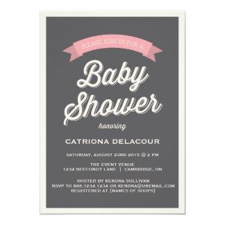 GRAY RETRO TYPOGRAPHY   BABY SHOWER INVITATION