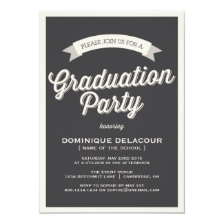 GRAY RETRO TYPOGRAPHY GRADUATION PARTY INVITATION