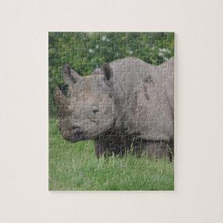 Gray Rhino in the wild Jigsaw Puzzle