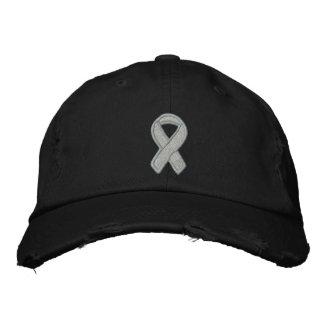 Gray Ribbon Awareness Embroidered Baseball Cap