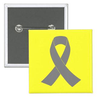 Gray Ribbon Awareness - Zombie, Brain Cancer Pinback Buttons