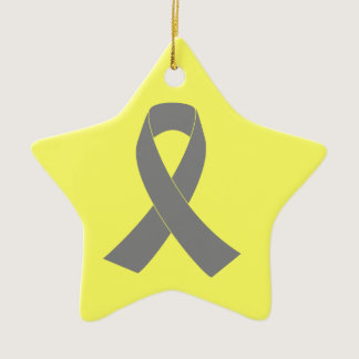 Gray Ribbon Awareness - Zombie, Brain Cancer Ceramic Ornament