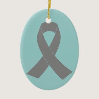 Gray Ribbon Awareness - Zombie, Brain Cancer Ceramic Ornament