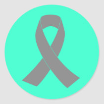 Gray Ribbon Awareness - Zombie, Brain Cancer Classic Round Sticker