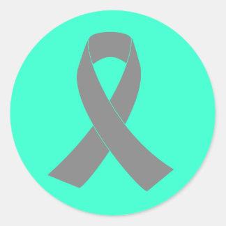 Gray Ribbon Awareness - Zombie, Brain Cancer Classic Round Sticker