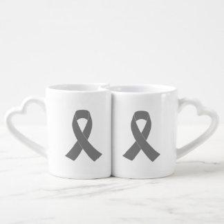 Gray Ribbon Awareness - Zombie, Brain Cancer Couples Coffee Mug