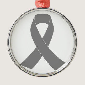 Gray Ribbon Awareness - Zombie, Brain Cancer Metal Ornament