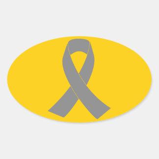 Gray Ribbon Awareness - Zombie, Brain Cancer Oval Sticker