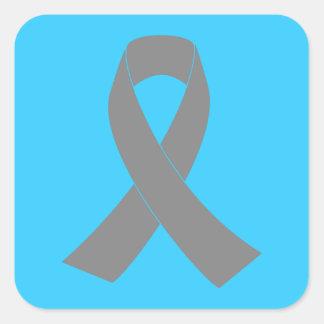 Gray Ribbon Awareness - Zombie, Brain Cancer Square Sticker