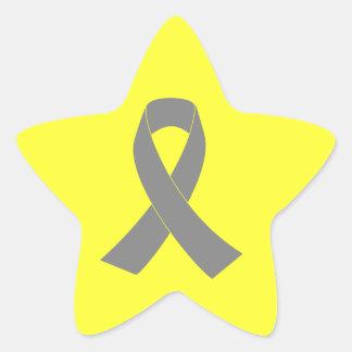 Gray Ribbon Awareness - Zombie, Brain Cancer Star Sticker