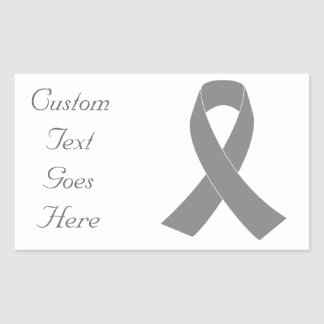Gray Ribbon Awareness - Zombie, Brain Cancer Rectangular Sticker