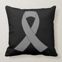 Gray Ribbon Awareness - Zombie, Brain Cancer Throw Pillow