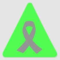 Gray Ribbon Awareness - Zombie, Brain Cancer Triangle Sticker