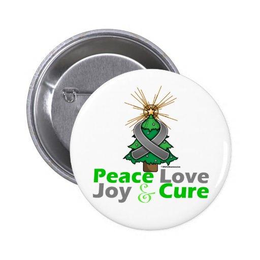 Gray Ribbon Christmas Peace Love, Joy & Cure Button