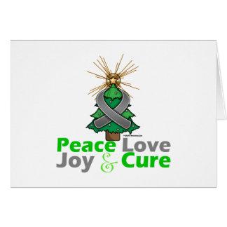 Gray Ribbon Christmas Peace Love, Joy & Cure Greeting Card