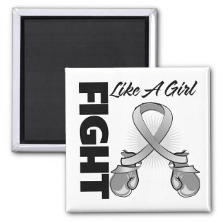 Gray Ribbon Fight Like A Girl 2 Inch Square Magnet