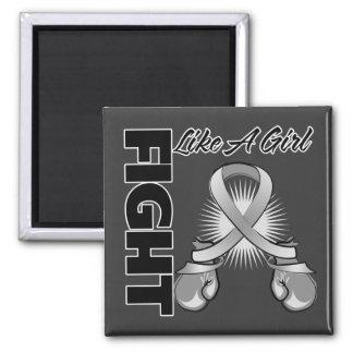 Gray Ribbon Fight Like A Girl Fridge Magnets