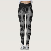 Gray Ribbon Grunge Heart Leggings