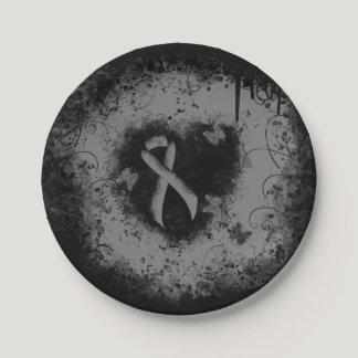Gray Ribbon Grunge Heart Paper Plate