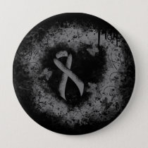 Gray Ribbon Grunge Heart Pinback Button