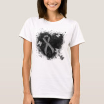Gray Ribbon Grunge Heart T-Shirt