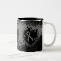 Gray Ribbon Grunge Heart Two-Tone Coffee Mug