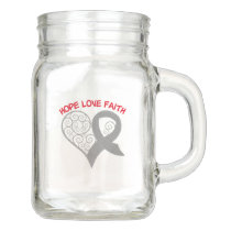 Gray Ribbon Hope Love Faith Mason Jar