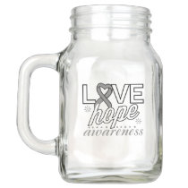 Gray Ribbon Love Hope Awareness Mason Jar