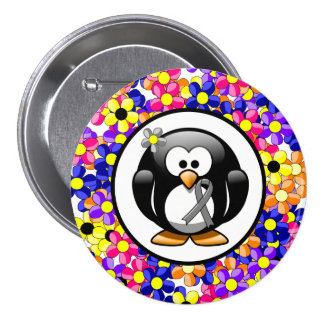 Gray Ribbon Penguin Button