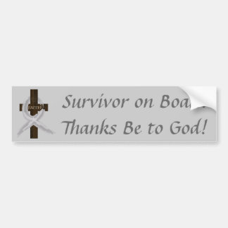 Gray Ribbon Survivor on Board bumper sticker