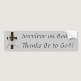Gray Ribbon Survivor on Board bumper sticker