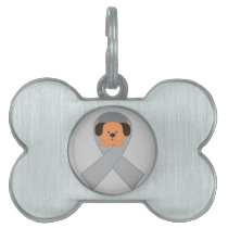 Gray Ribbon With Cute Dog Tag