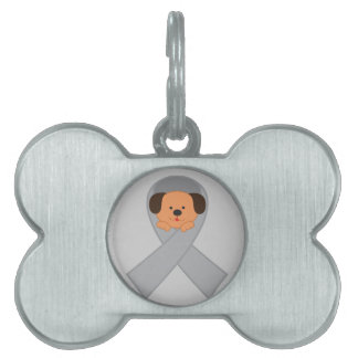 Gray Ribbon With Cute Dog Tag