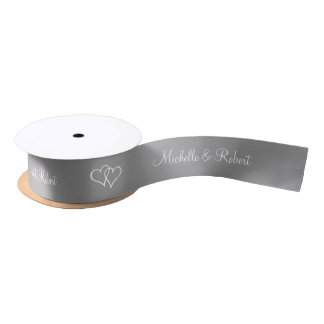 Gray ribbon with wedding couple name and hearts