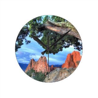Gray Rock framed by Tree Round Clock