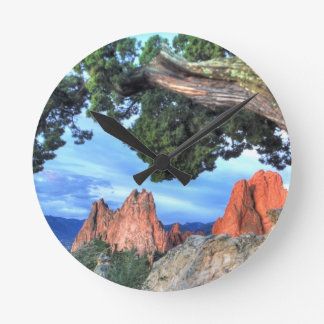 Gray Rock framed by Tree Round Clock