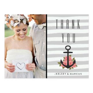 Gray Romantic Nautical Wedding Thank You Photo Postcard