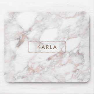 Gray & Rose-gold Faux Marble Mouse Pad