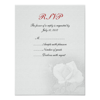 Gray Rose RSVP Card Personalized Invite
