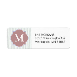 Gray & Rosy Brown Modern Chevron Custom Monogram Label