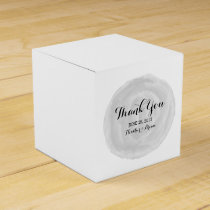 Gray Round Watercolor Wedding Favor Boxes
