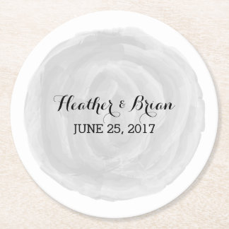 Gray Round Watercolor Wedding Paper Coasters