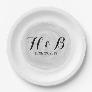 Gray Round Watercolor Wedding Paper Plates 9 Inch Paper Plate