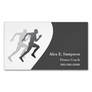 Gray Runner Fitness Coach Magnetic Business Cards (Pack Of 25)